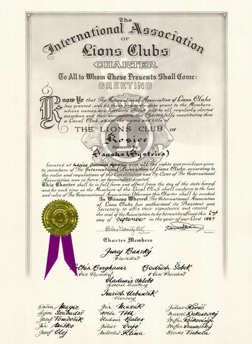 Certifikát Charter Lions Club